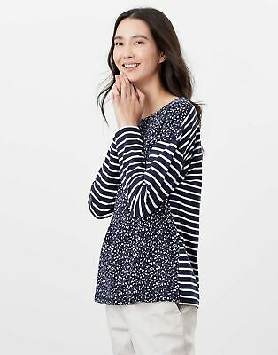 Joules Womens Marina Print Dropped Shoulder Jersey Top - Navy Ditsy • 14.95£