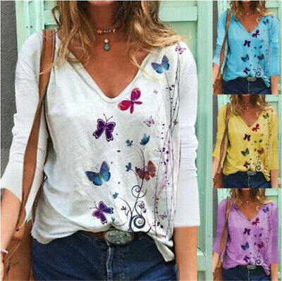 Womens V-Neck Butterfly Print T-Shirt Ladies Long Sleeve Blouse Tunic Loose Tops • 8.99£