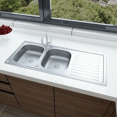 Stainless Steel Kitchen Sink Reversible Double Bowl + Drainer Waste Plumbing Kit • 95.94£