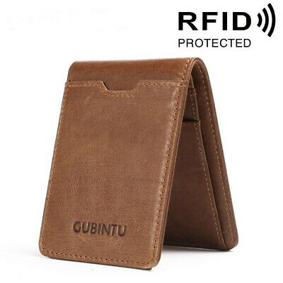 AU10.99 • Buy Men 100% Genuine Leather Slim Bifold Wallet RFID Blocking Business Card Holder