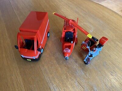 Postman Pat Vehicle Toy Bundle Van Motorbike And Helicopter A1 Condition • 9.99£