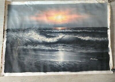 Original Sea Waves Sunset Oil Painting By Alexiery.  Large 27x39inches • 35£