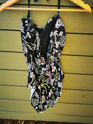 SIZE 18 - 20 Tall Black Floral Swimming Costume 'never Worn' & Bust Support • 3£