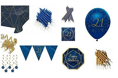 Navy Blue & Gold Male 21st Birthday Tableware Balloons  Party Decorations Age 21 • 2.29£