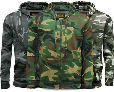 Mens Camouflage Hoodie Lined Full Zip Army Camo Hooded Winter Jacket S - 3XL • 14.99£