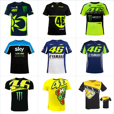 NEW VR46 Yamaha Valentino Rossi Moto Motorcycle Racing MotoGP T-Shirt Quickdry • 14.59£
