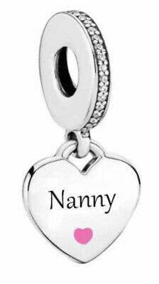 🇬🇧💜💜925 Sterling Silver Nanny Heart Dangle Charm Gift Pouch • 17.99£