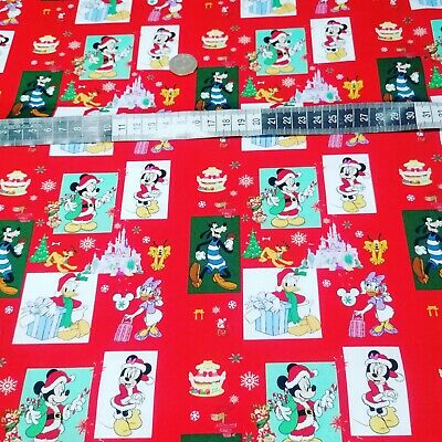 £5.99 • Buy Minnie Mouse & Co Print 100% Cotton Fabric 120gsm Perfect For Christmas Crafts
