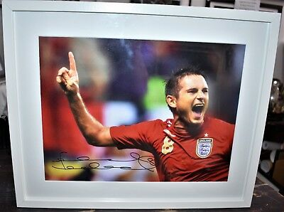 Frank Lampard Large Hand Signed Framed Picture In Red England Shirt With COA • 95£