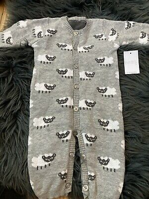Baby Unisex Grey Kitted Sheep Romper 0-3months BNWTS • 3.20£