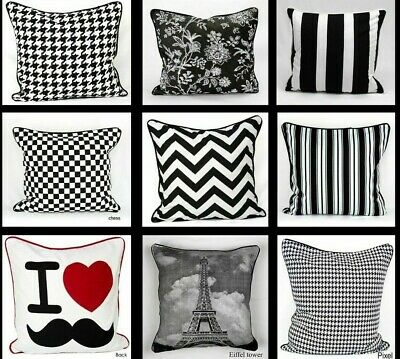 White & Black Cotton Cushion Cover Only Or With Inner Pillowcase Home Sofa Decor • 5.98£