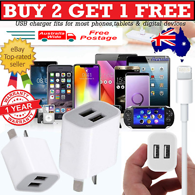 AU8.99 • Buy Dual Wall Charger AU PLUG Power Adapter & MFi Cable For IPhone 5678X 11Pro IPad