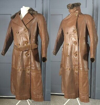 Antique / Vintage Automobilia 1910s / 1920s / 1930s Leather Driving Coat • 500£