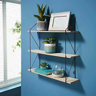 £15.99 • Buy 3 Tier Metal Wire Wall Floating Shelves Decoration Storage Shelf Living Room