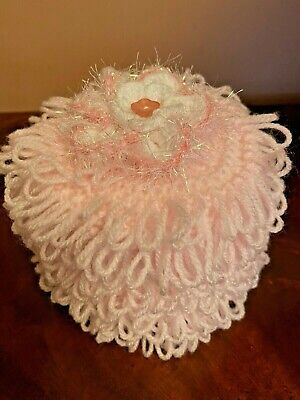 Hand Knitted Pink Toilet Roll Cover With Flower Top • 5.20£