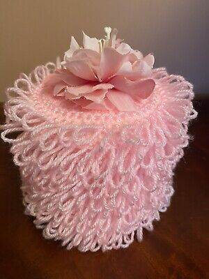 Hand Knitted Pink Toilet Roll Cover With Peony Flower Top • 5.20£