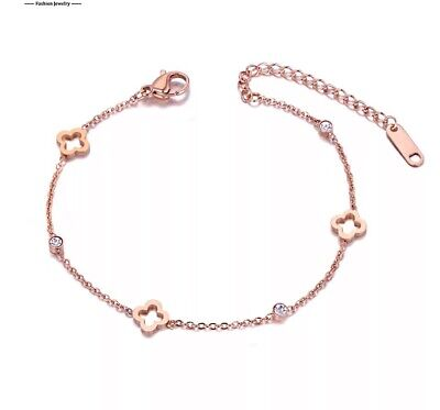 Gold Plated Clover Bracelet On Rose Gold Stainless Steel Crystal Chain Jewellery • 5.99£