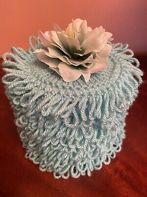 Hand Knitted Turquoise Toilet Roll Cover With Peony Flower Top • 5.20£