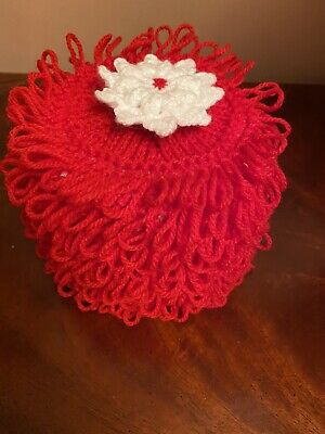 Hand Knitted Red Toilet Roll Cover With Flower Top • 5.20£