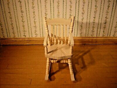 1/12th Dollshouse Miniature Bare Wood Rocking Chair • 4.95£