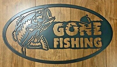 £39.99 • Buy Gone Fishing Metal Wall Are Sign Oval