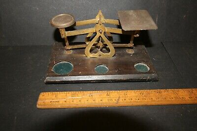 Antique Brass Post Office Scales On Wooden Base - No Weights .Made In England  • 9.99£