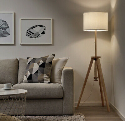 AU178.50 • Buy IKEA LAUTERS Solid Natural Timber Wood Tripod Floor Lamp White Shade 119-151cm