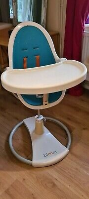 Bloom Fresco Highchair Turquoise Orange Inc Foot Stand, 2 Trays & New Straps! • 35£