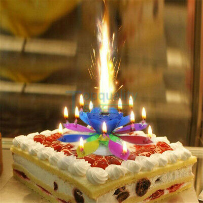 $ CDN8.55 • Buy Rotating Lotus Candle Birthday Flower Floral Cake Candle And Music Magic US