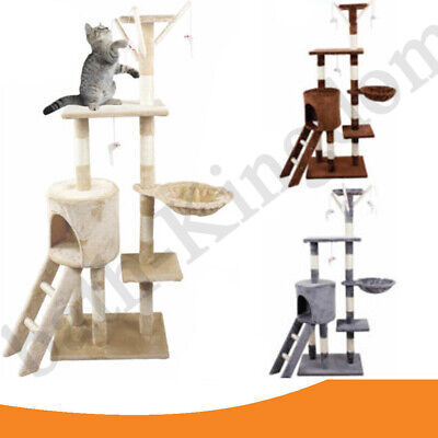 Large Cat Tree Tower Condo Furniture Scratching Kitty Kitten Play House 138cm H • 25.45£
