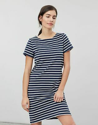 Joules Womens Riviera Short Sleeve Jersey Dress - Navy Cream Stripe • 9.95£
