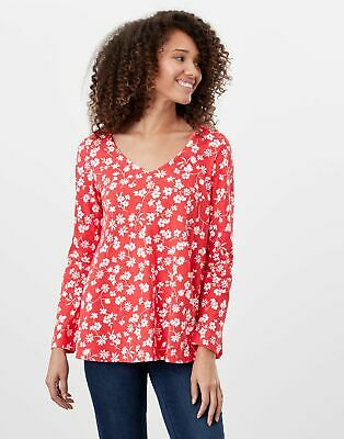 Joules Womens Harbour Lightweight Swing V Neck Jersey Top - Red Floral • 12.95£