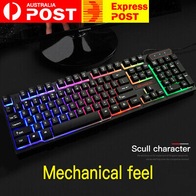 AU23.99 • Buy Wired Backlit Mechanical RGB LED 104 Keys Gaming Keyboard Switches Anti-Ghosting
