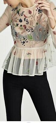 AU12 • Buy Zara Embroidered Tulle Blouse