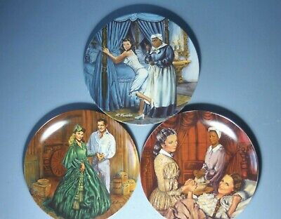 3 X ' Gone With The Wind ' Collectors Plates By Knowles   Signed Raymond Kursar. • 20£