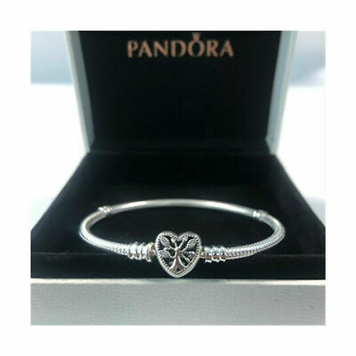 Genuine Silver Pandora Moments Family Tree Heart Clasp Snake Chain Bracelet • 15.79£