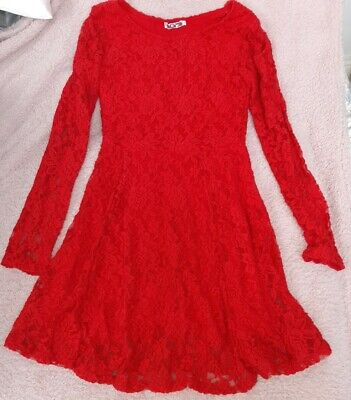 WAL G Christmas Long Sleeve Red Lace Skater Dress SIZE S (8-10) • 6.99£