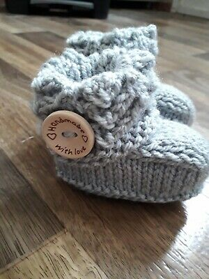 Hand Knitted Newborn Baby Boots/Booties In Light Grey • 0.99£