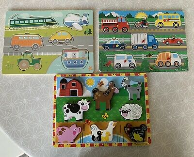 3 Wooden Puzzles. 2 Melissa And Doug, 1 Wilkinson. • 1.60£