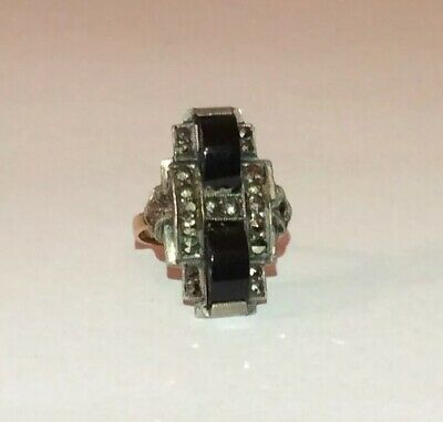 Vintage 1920s Art Deco 9ct Gold & Silver Geometric Onyx & Marcasites Ring • 75£