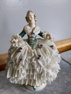$ CDN139.19 • Buy Germany DRESDEN PORCELAIN LACE FIGURINE LADY 7 Inches TALL