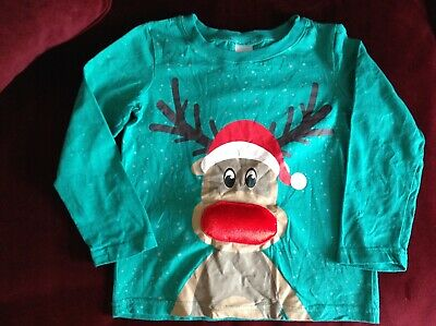Boys/Girls Green Christmas Jumper/top Age 5-6. Rudolph Red Nosed Reindeer. Avon • 0.99£