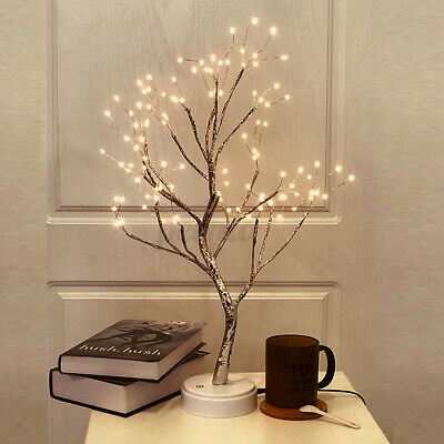 AU19.99 • Buy LED Night Light Tree Table Desk Lamp Gold Branch Battery USB Wedding Party Decor