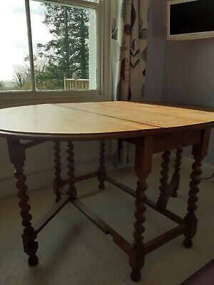 Vintage Drop Leaf Table With Barley Twist Legs. Very Good Used Condition • 30£