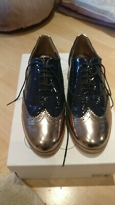 Boden  Ladies Two-tone Leather Brogue Navy/ Bronze Size 3 • 40£