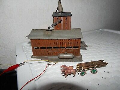 HO 00 OO Gauge Wood Mill Factory 12v Light Stacks Timber With Horse & Cart Pola • 1.20£