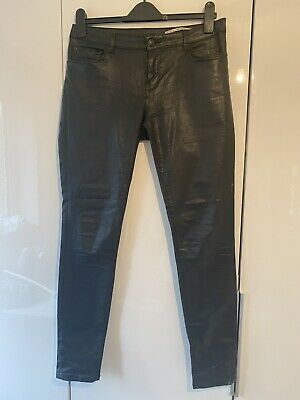 Zara Womens Black Coated Leather Look Slim Fit Jeans Size 10 • 4£