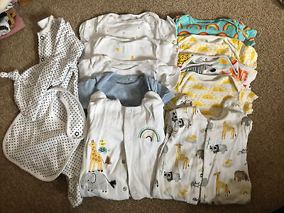 Baby 0-3 Months NEXT Sleepsuit And Vest Bundle Neutral Girl Boy Unisex • 2.20£