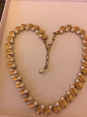 Vintage Signed Trifari Gold Plated And Faux Pearl Necklace • 4.20£