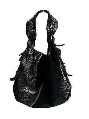 Russell And Bromley Large Black Patent Croc Effect Studded Leather HOBO Bag. • 25£